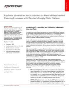 Raytheon Streamlines and Automates Its Material Requirement Planning Processes with Exostar's Supply Chain Platform