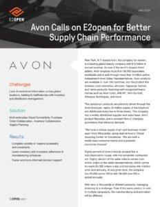 Avon Calls on E2open for Better Supply Chain Performance