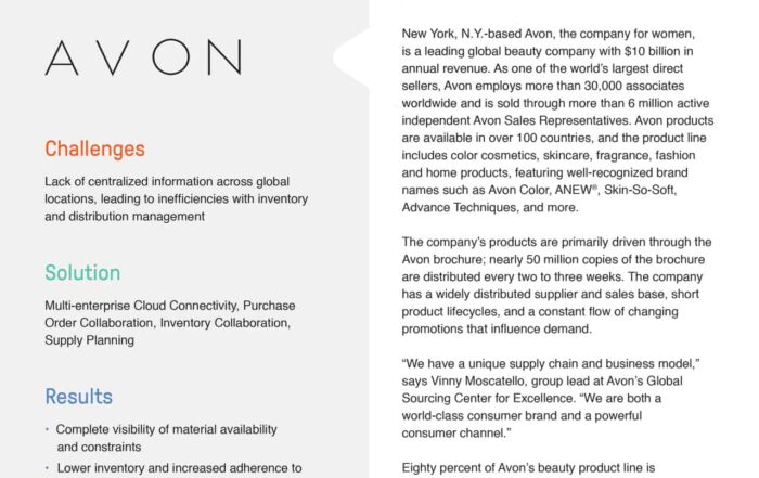 Case Study - Avon Calls on E2open for Better Supply Chain Performance