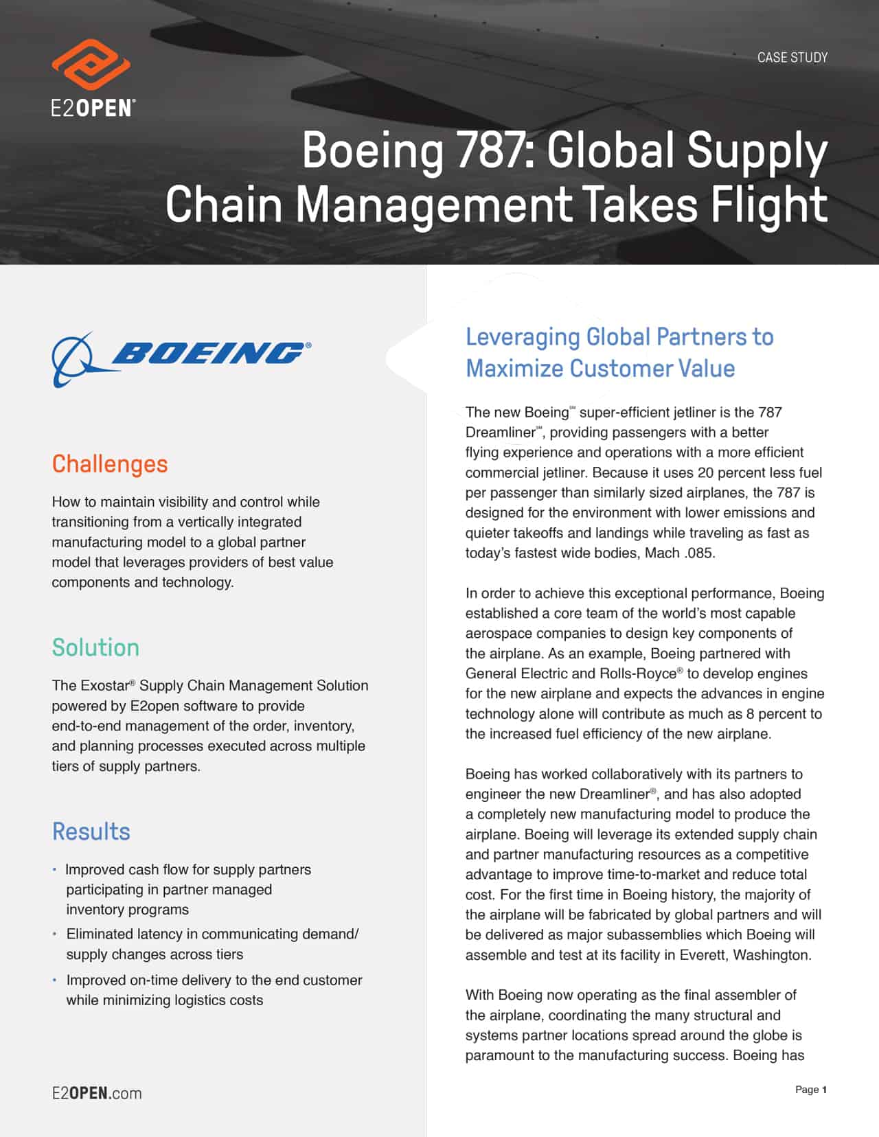 Case Study - Boeing 787: Global Supply Chain Management Takes Flight