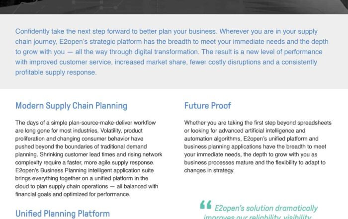 Business Planning Intelligent Application Suite Profile