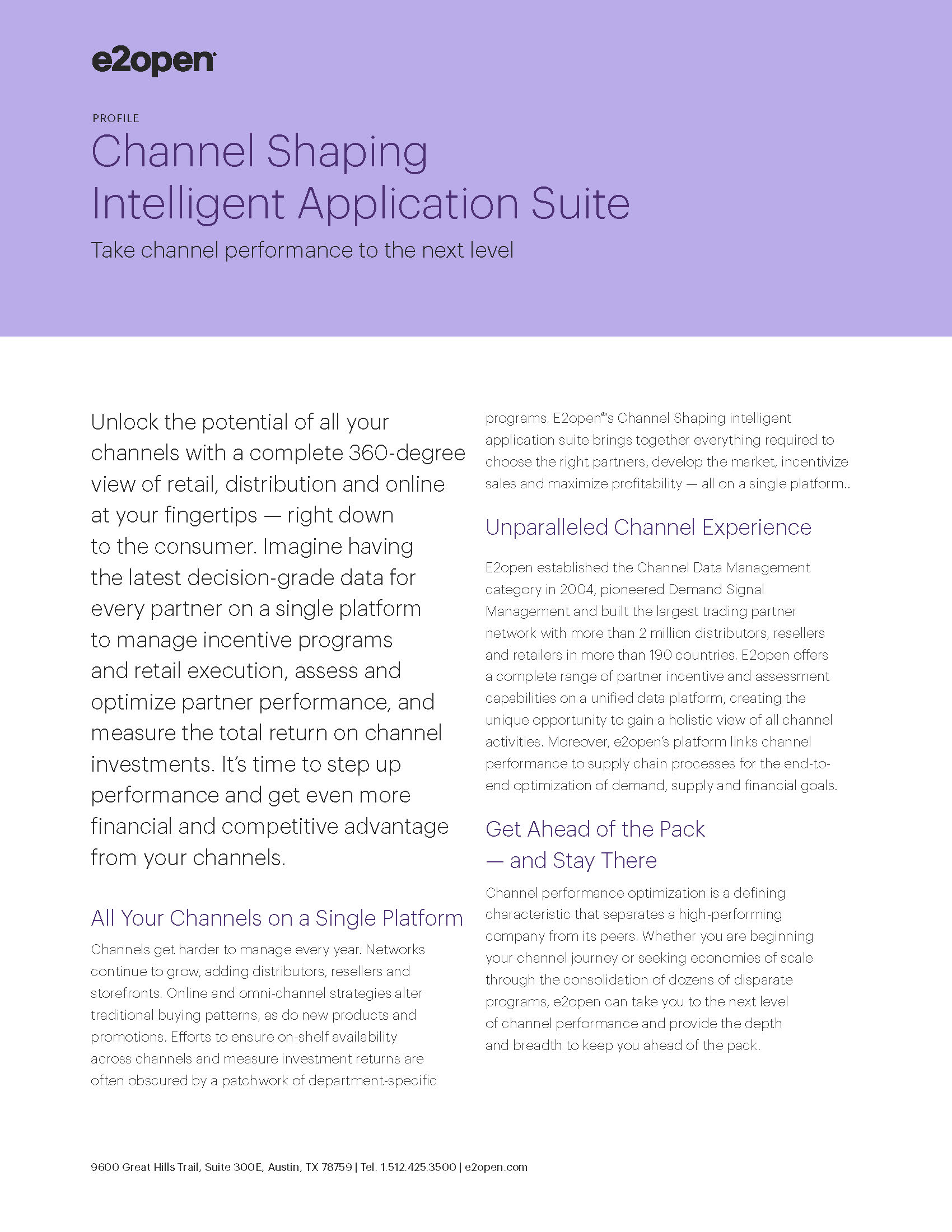 Channel Shaping Intelligent Application Suite Profile