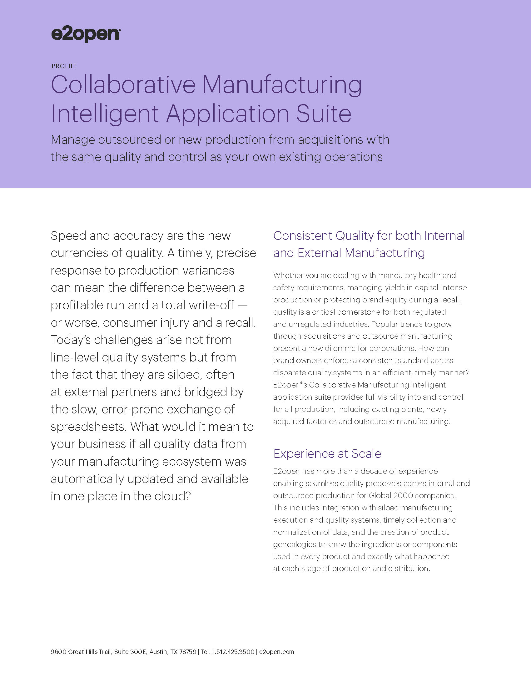 Collaborative Manufacturing Intelligent Application Suite Profile