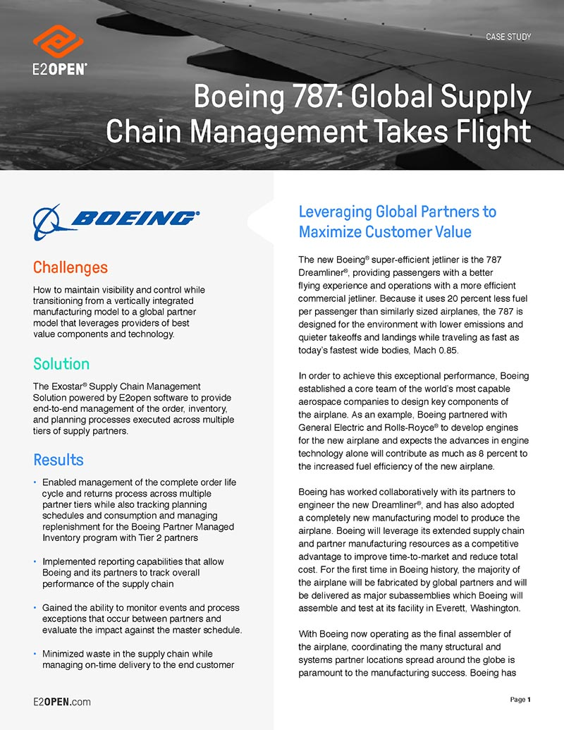 Boeing 787: Global Supply Chain Management Takes Flight