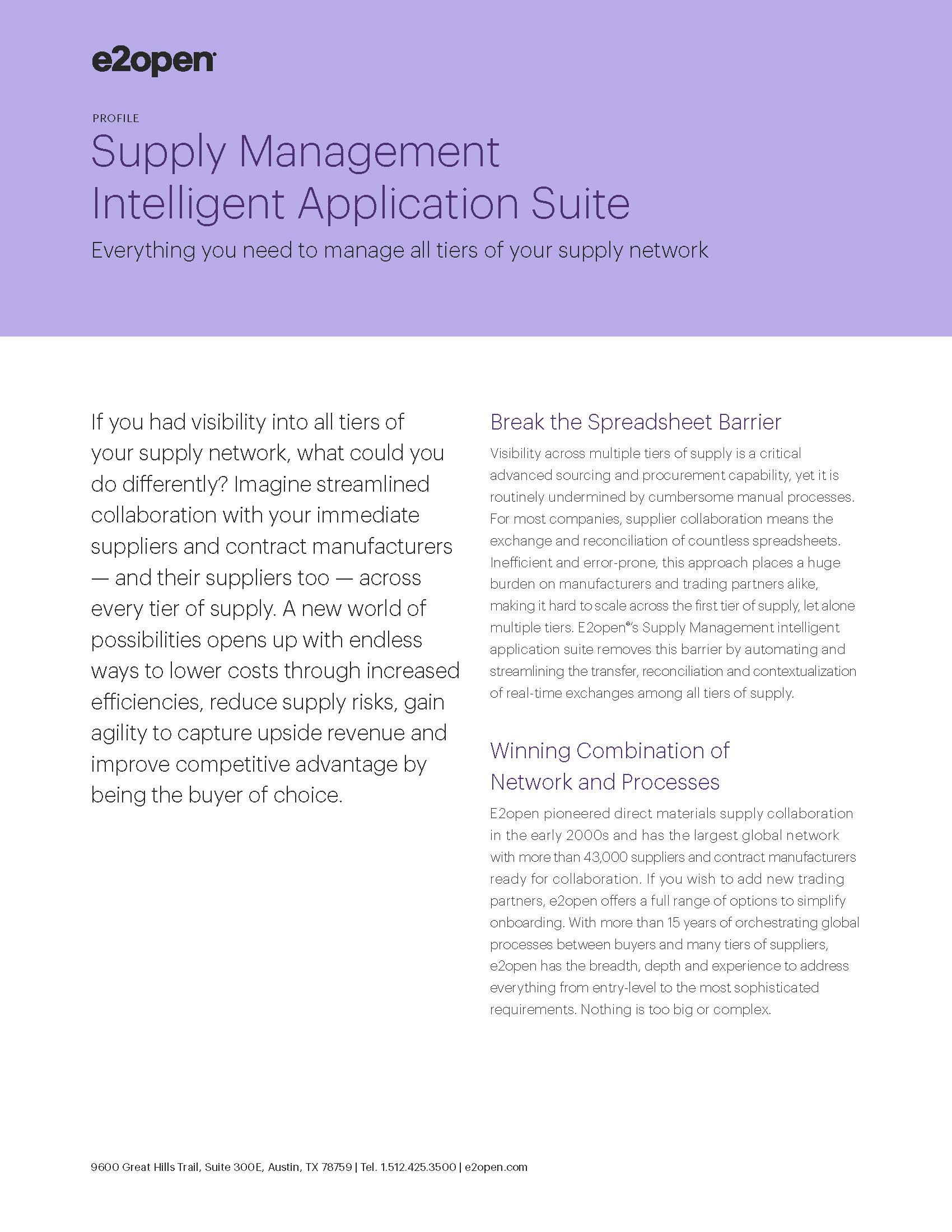 Supply Management Intelligent Application Suite Profile