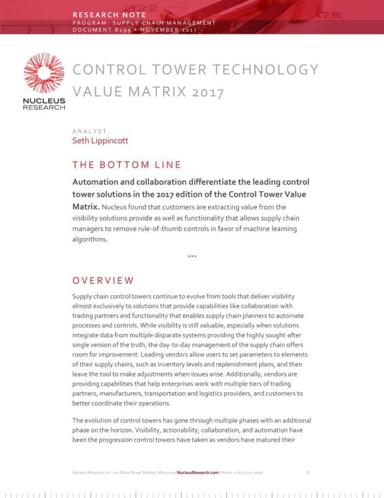 Nucleus Research: Control Tower Value Matrix 2017