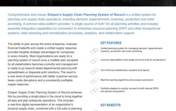 E2open Supply Chain Planning System of Record
