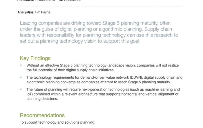 Technology Reference Model for Stage 5 Maturity Supply Chain Planning