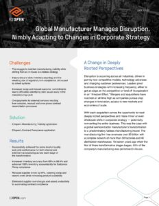 Global Manufacturer Manages Disruption, Nimbly Adapting to Changes in Corporate Strategy