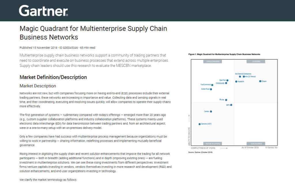 Gartner 2018 Magic Quadrant for Multienterprise Supply Chain Business Networks