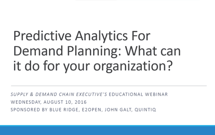 Predictive Analytics for Demand Planning