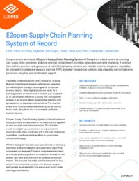 E2open Supply Chain Planning System of Record Solution Brief