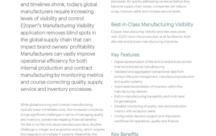 Manufacturing Visibility Data Sheet