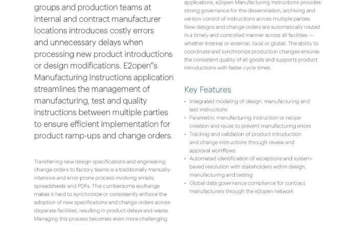E2open Manufacturing Instructions Data Sheet