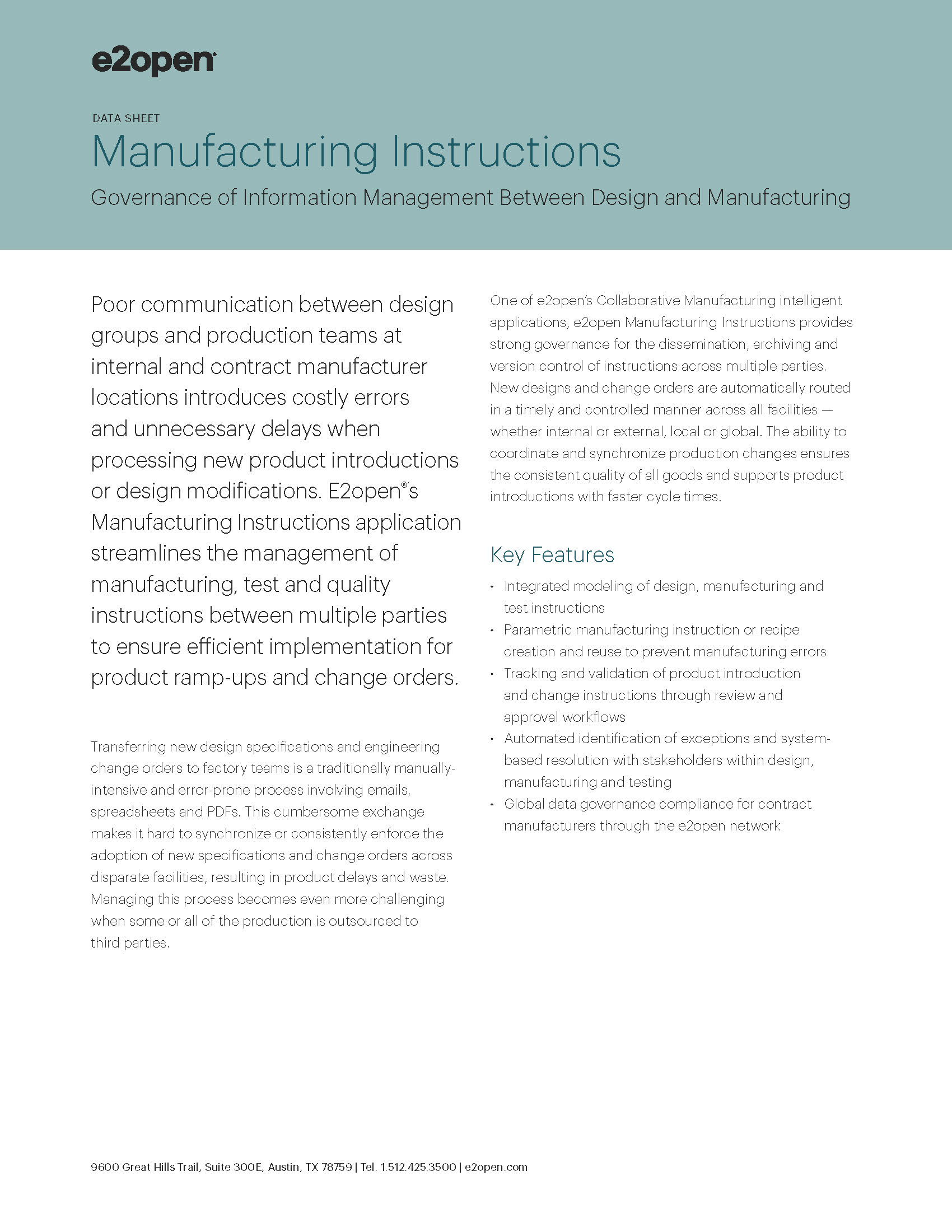 E2open Manufacturing Instructions Data Sheet