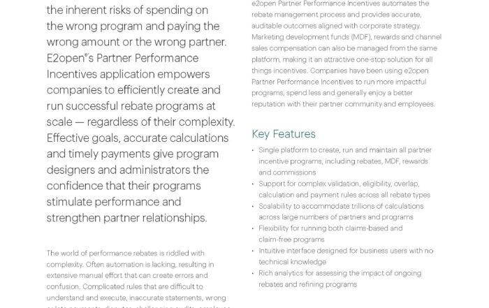 Partner Performance Incentives Data Sheet