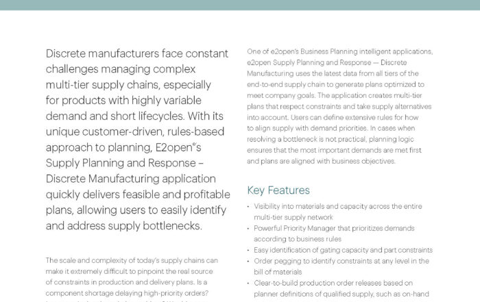 Planning & Execution - E2open | Demand  Supply  Delivered