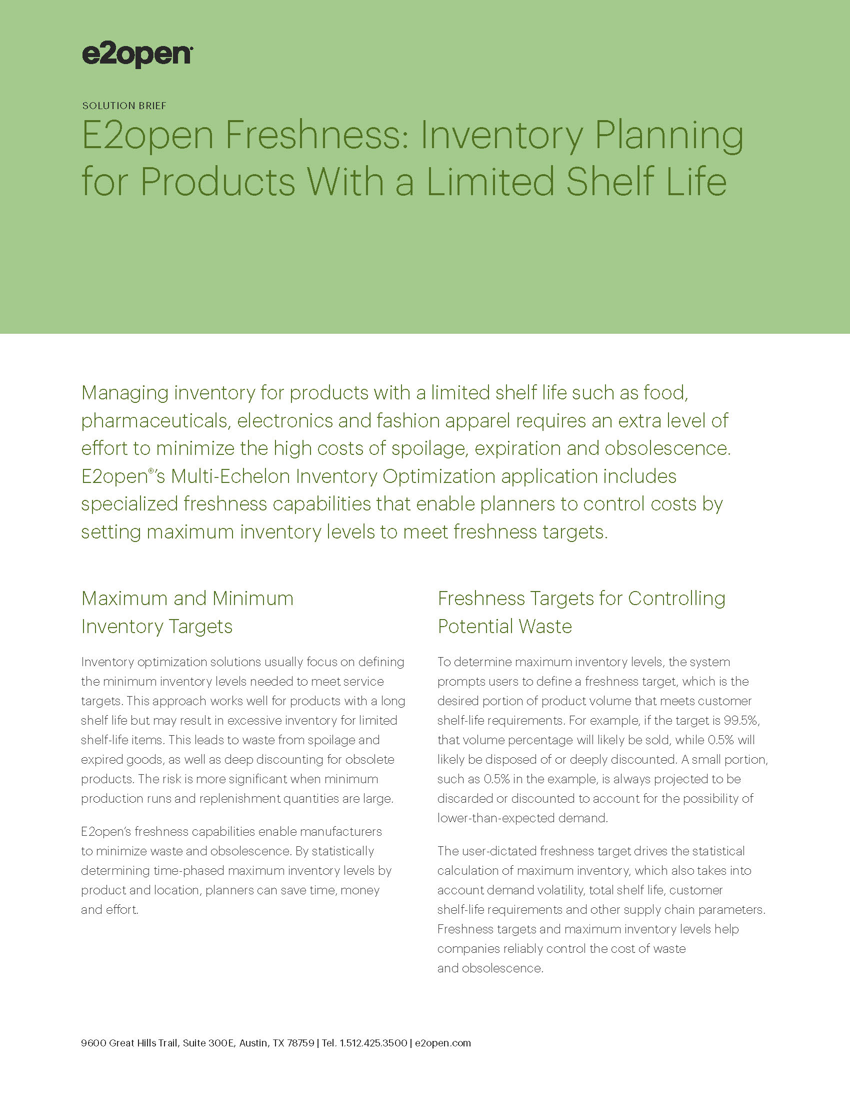 E2open Freshness: Inventory Planning for Products With a Limited Shelf Life