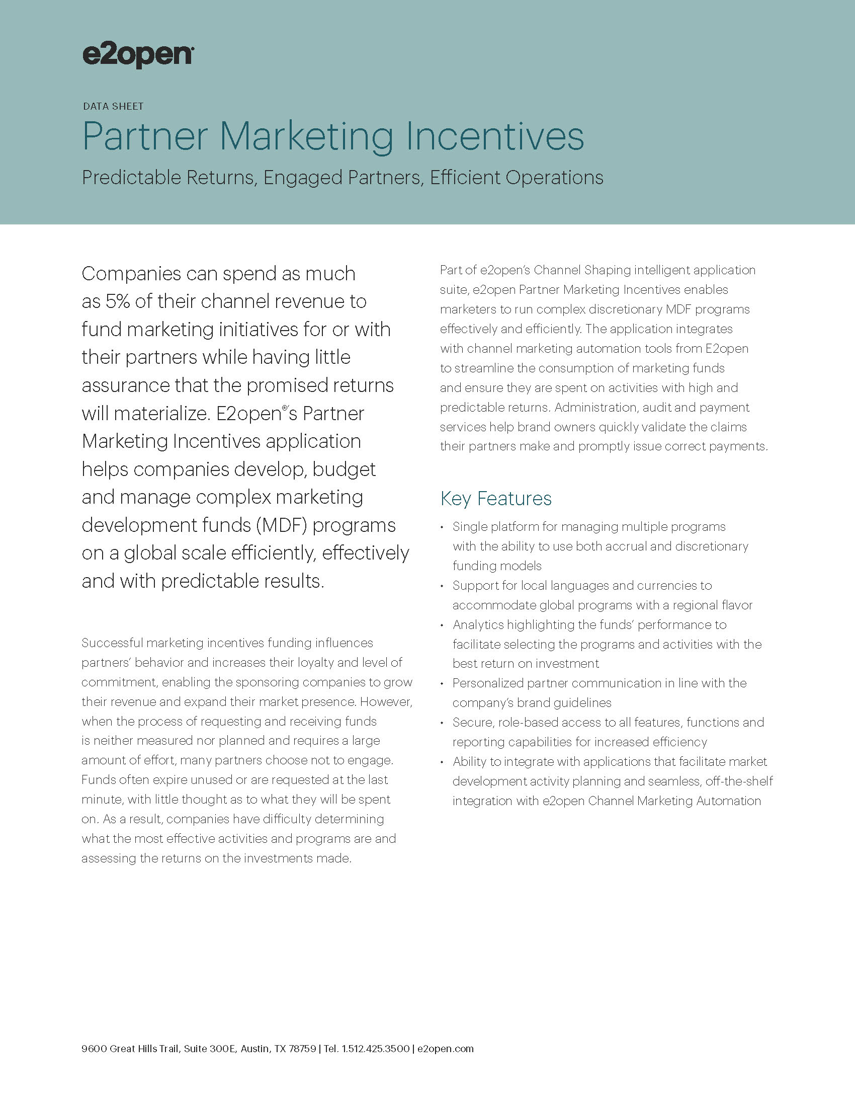 E2open Partner Marketing Incentives Data Sheet