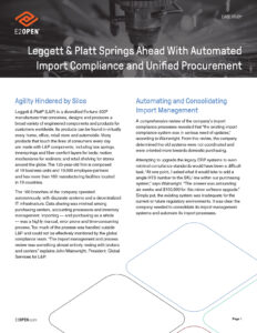 Leggett & Platt Springs Ahead With Automated Import Compliance and Unified Procurement
