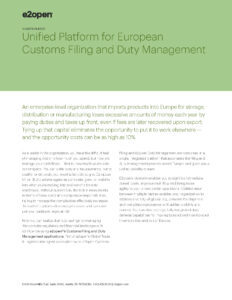 Unified Platform for European Customs Filing and Duty Management Solution Brief