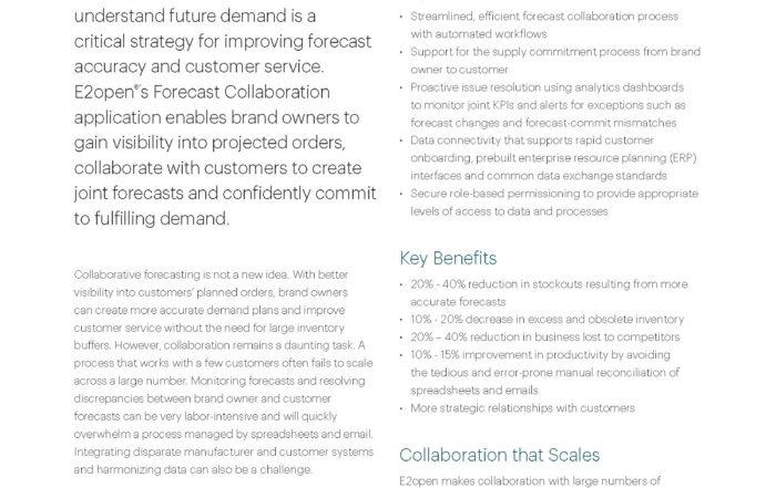 E2open Forecast Collaboration Demand Sensing Data Sheet