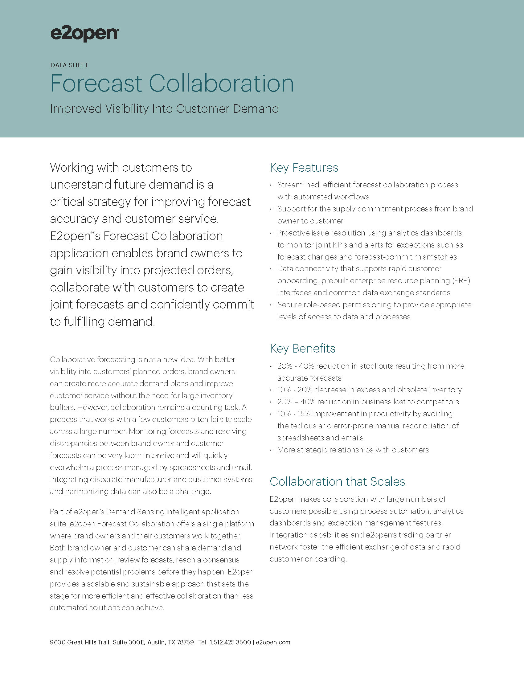 E2open Forecast Collaboration Demand Sensing Data Sheet