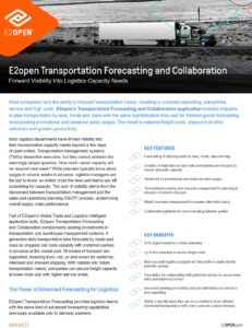 E2open Transportation Forecasting and Collaboration Data Sheet