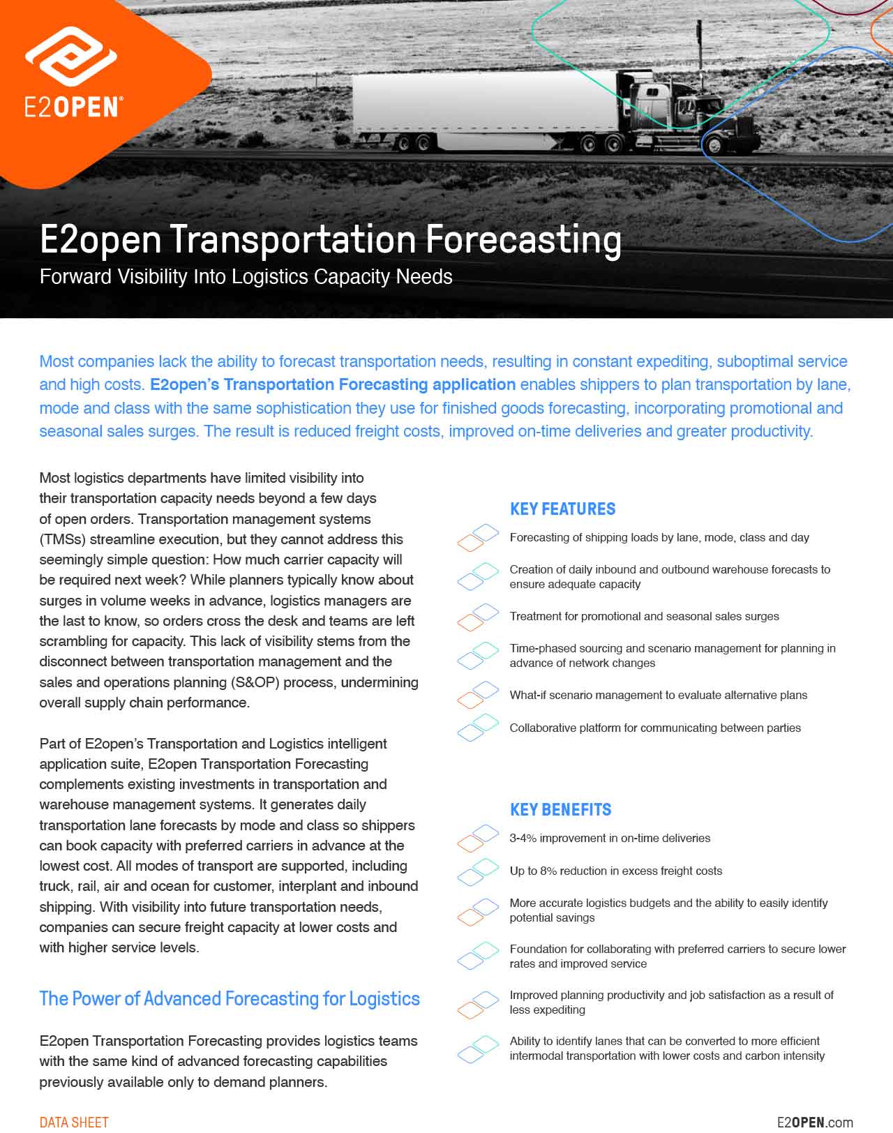 E2open Transportation Forecasting Data Sheet