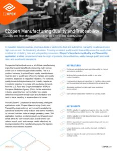 E2open Manufacturing Quality and Traceability Data Sheet