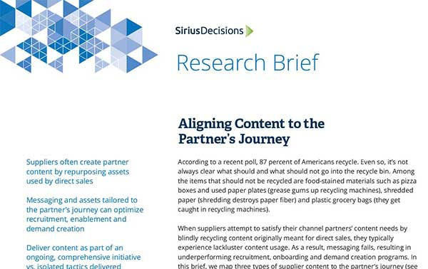 SiriusDecisions Research Brief: Aligning Content to the Partner's Journey