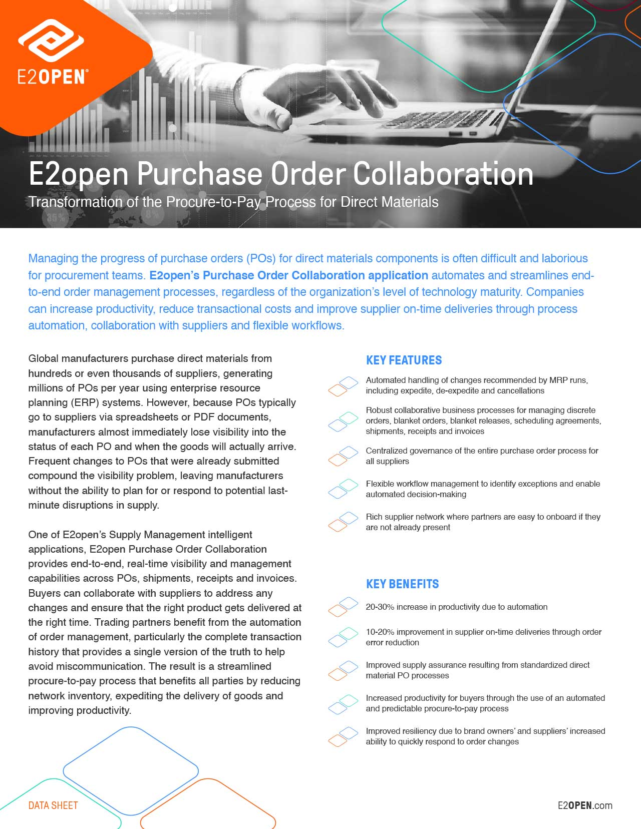 E2open Purchase Order Collaboration Data Sheet