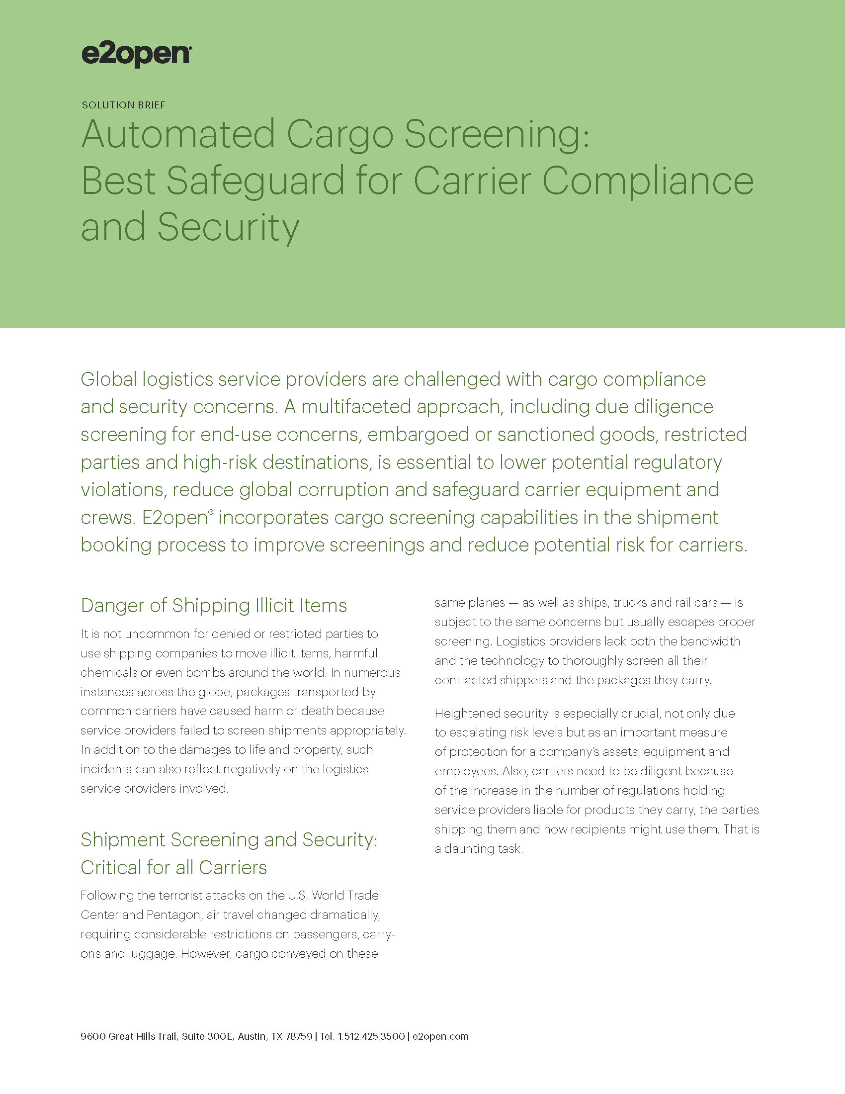Automated Cargo Screening: Best Safeguard for Carrier Compliance