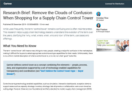 Gartner Research Brief: Remove the Clouds of Confusion When Shopping for a Supply Chain Control Tower