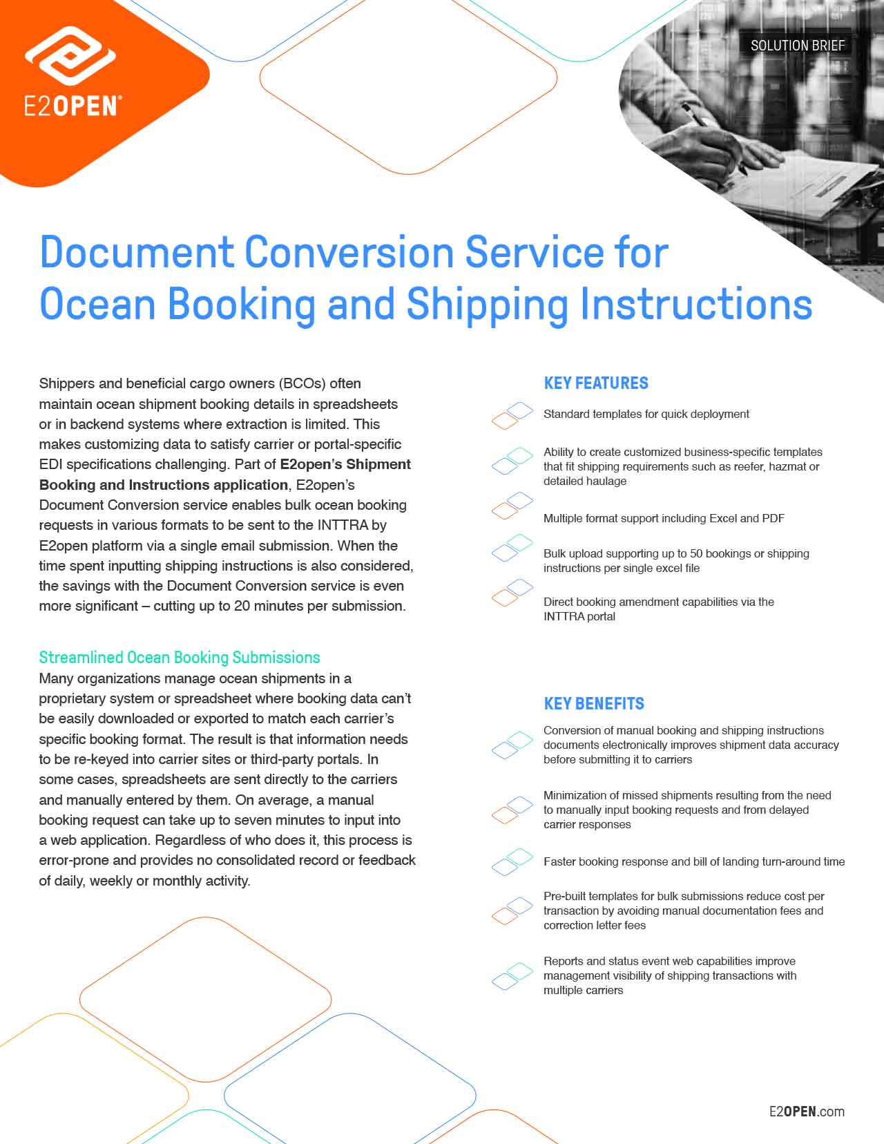 Document Conversion Service for Ocean Booking and Shipping Instructions