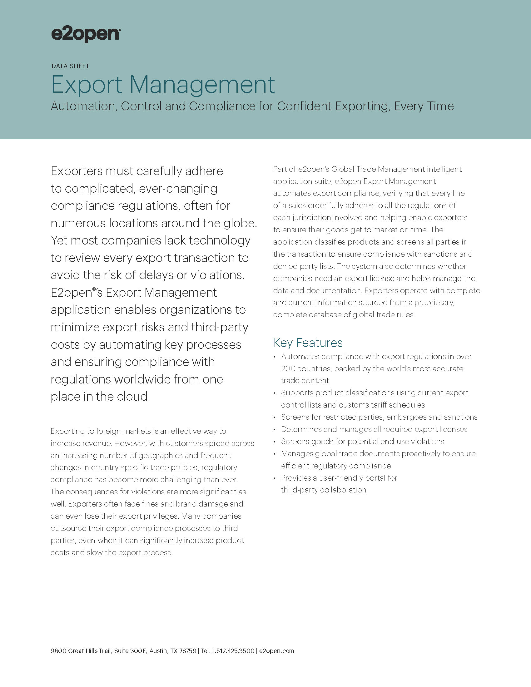 E2open Export Management Data Sheet