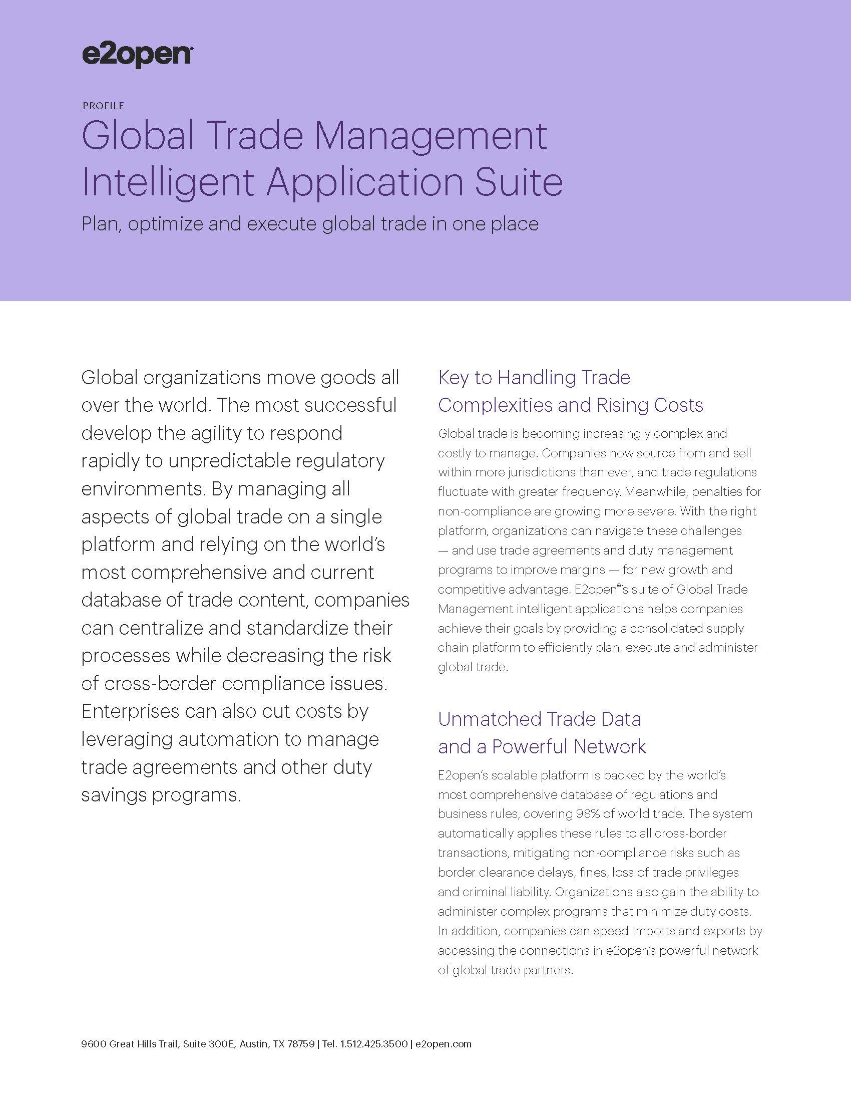 Global Trade Management Intelligent Application