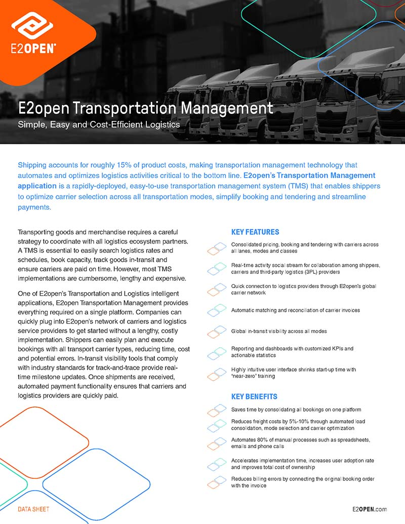 E2open Transportation Management Data Sheet