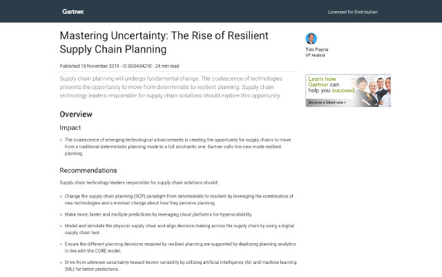 Gartner Research – Mastering Uncertainty: The Rise of Resilient Supply Chain Planning