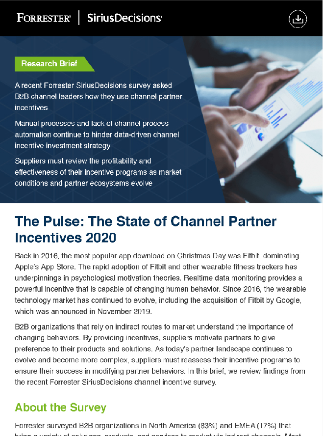 Forrester Pulse The State of Channel Partner Incentives 2020