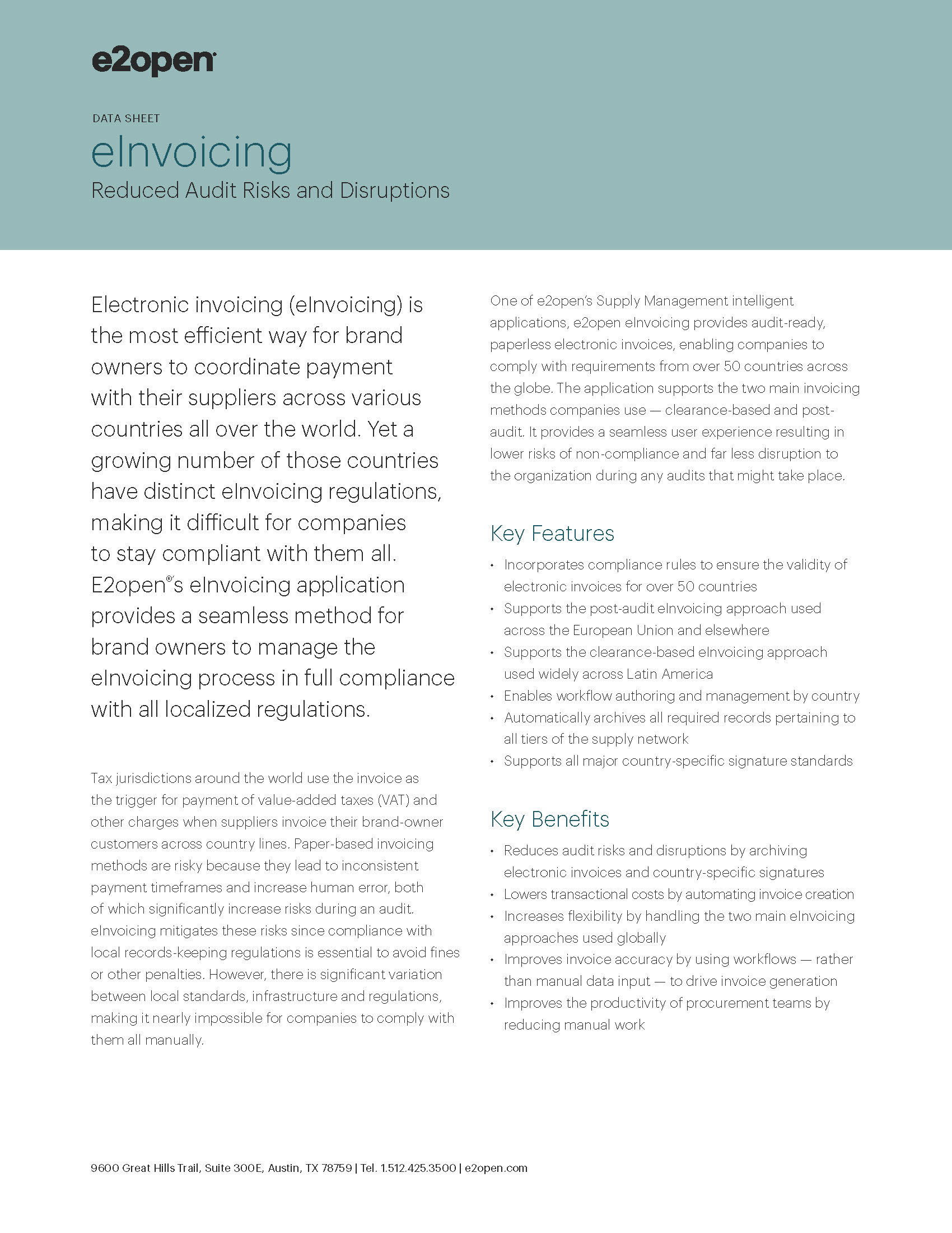 E2open eInvoicing Data Sheet