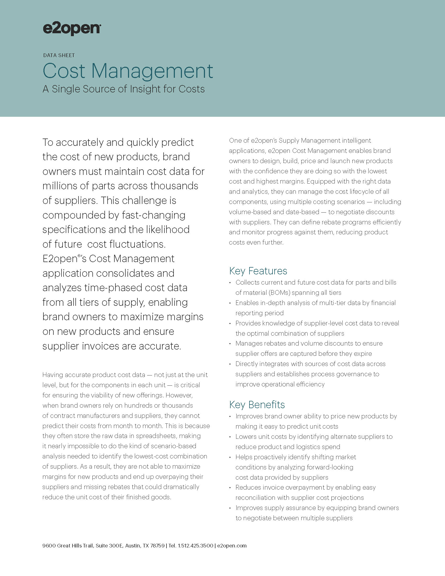 E2open Cost Management Data Sheet