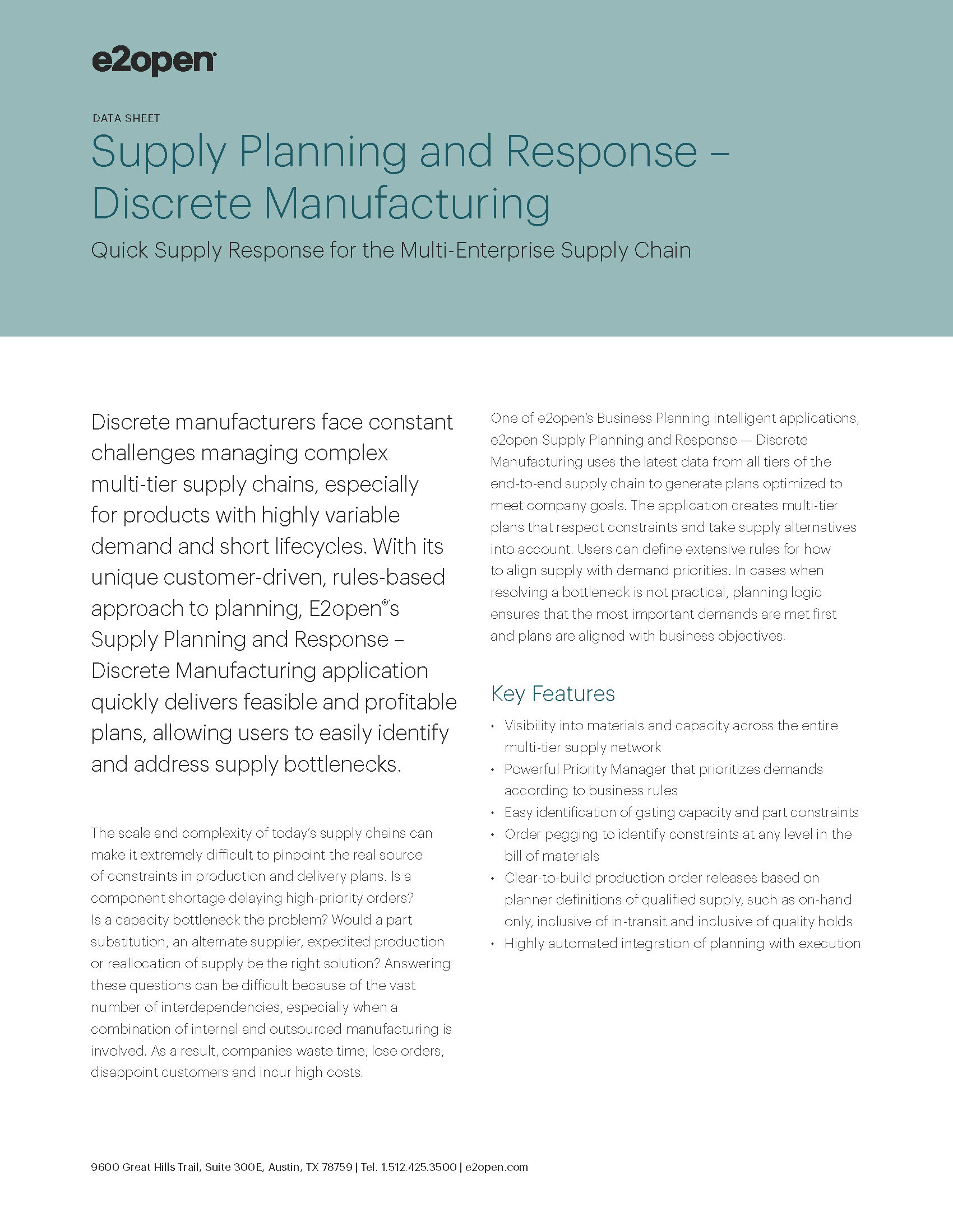 E2open Supply Planning and Response – Discrete Manufacturing