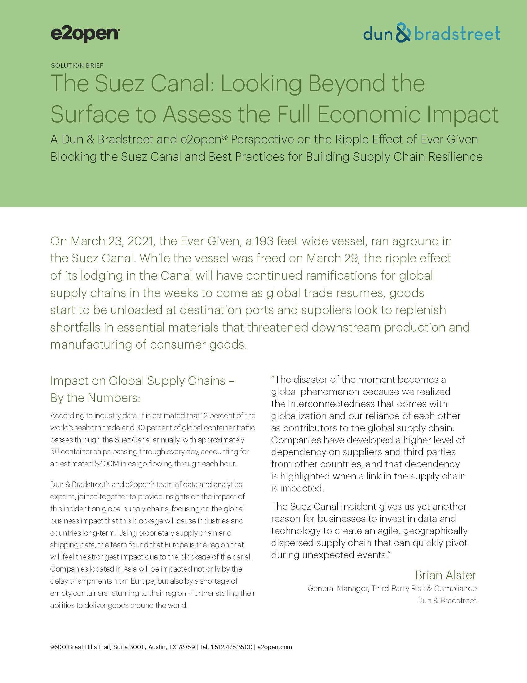 The Suez Canal: Looking Beyond the Surface to Assess the Full Economic Impact