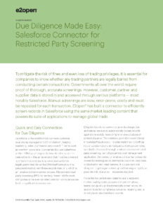 Due Diligence Made Easy: Salesforce Connector for Restricted Party Screening