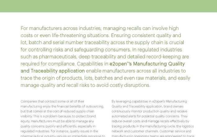 Manufacturing Quality and Traceability for Discrete and Process Manufacturers