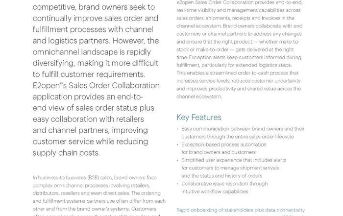 E2open Sales Order Collaboration Data Sheet