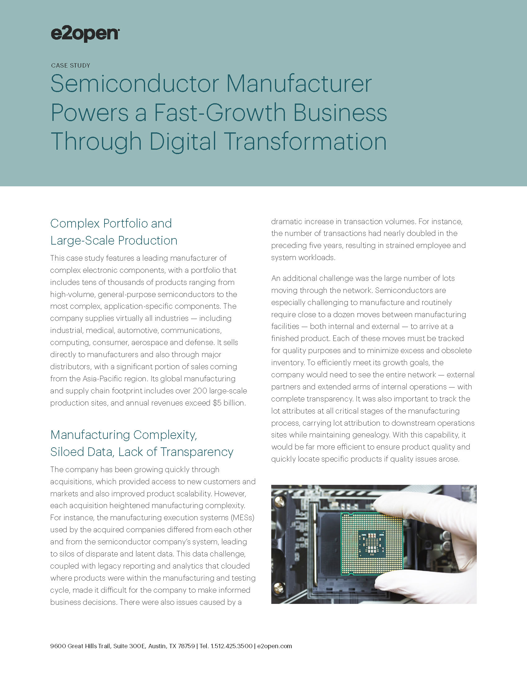 Major Semiconductor Manufacturer Transforms a Fast-Growth Business | E2open
